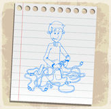 Cartoon link on paper note, vector illustration Royalty Free Stock Images