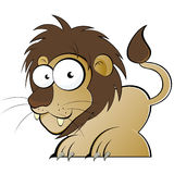 Cartoon lion. Illustration of cartoon lion with goggle eyes, isolated on white background Royalty Free Stock Photos