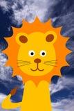 Cartoon lion. Joyful cartoon lion under a blue sky Royalty Free Stock Images