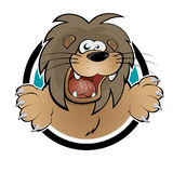 Cartoon lion. Illustration of a cartoon lion in a badge Royalty Free Stock Image
