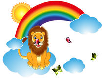 Cartoon lion with butterflies on rainbow clouds. royalty free illustration