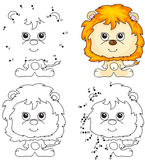 Cartoon lion. Coloring book and dot to dot game for kids Stock Photos
