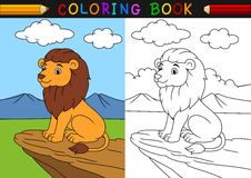 Cartoon lion coloring book. Illustration of Cartoon lion coloring book Royalty Free Stock Image
