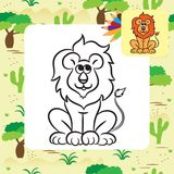 Cartoon lion. Coloring page Stock Photography
