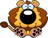 Cartoon Lion Cub Sitting Royalty Free Stock Images
