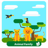 Cartoon lion family  with trees and birds Royalty Free Stock Image