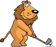 Cartoon Lion Golfing Stock Photography