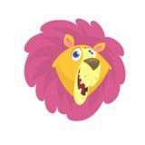 Cartoon lion head icon. Flat Bright Color Simplified Vector Illustration Stock Image