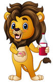 Cartoon lion holding a drink bottle Royalty Free Stock Photography