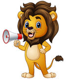 Cartoon lion holding a loudspeaker Royalty Free Stock Images