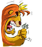Cartoon lion holding a mouse frightening it. Cartoon king lion with crown holding a tiny mouse in its fist frightening it Stock Image