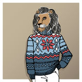 Cartoon lion in Jacquard hat ,sweater.Winter Royalty Free Stock Photography