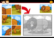 Cartoon lion jigsaw puzzle game Royalty Free Stock Photo
