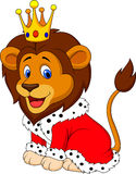 Cartoon lion in king outfit Royalty Free Stock Photos