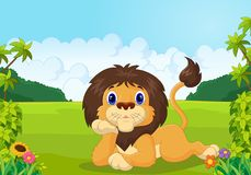 Cartoon lion lie down. Illustration of Cartoon lion lie down Royalty Free Stock Images