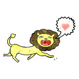 cartoon lion with love heart Stock Image