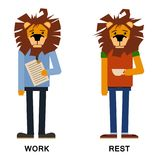 Cartoon lion, lion man vector. Lion hipster. Vector lion isolated. fashion illustration of lion dressed up in office and royalty free illustration