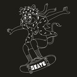 cartoon lion are playing skateboard with cool style in black background vector illustration