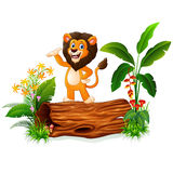 Cartoon lion presenting on tree trunk Stock Image
