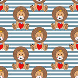 Cartoon lion with red heart seamless pattern on striped background. Royalty Free Stock Photography