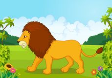 Cartoon lion from the side Stock Photos