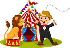 Cartoon lion sitting with circus tent background Royalty Free Stock Image