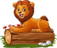 Cartoon lion sitting on a tree log Stock Photography