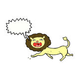 Cartoon lion with speech bubble Stock Photography