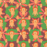 Cartoon lion symmtery flower seamless pattern Stock Photography