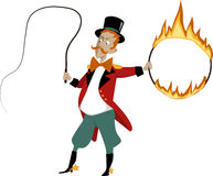 Cartoon lion tamer. With a flaming hoop and whip, no transparencies, EPS 8 Stock Photo