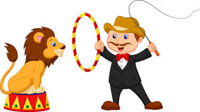 Cartoon Lion Tamer with lion Royalty Free Stock Images