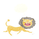 Cartoon lion with thought bubble Royalty Free Stock Images