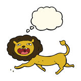 Cartoon lion with thought bubble Stock Photo