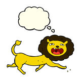 Cartoon lion with thought bubble Royalty Free Stock Photo