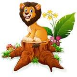 Cartoon lion on tree stump Royalty Free Stock Photography