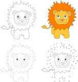 Cartoon lion. Vector illustration. Dot to dot game for kids Royalty Free Stock Photography