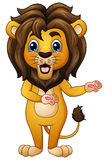 Cartoon lion in welcoming gesture. Illustration of Cartoon lion in welcoming gesture vector illustration