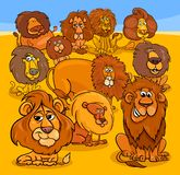 Cartoon lions animal characters group. Cartoon Vector Illustration of Funny Wild Lions Animal Characters Group royalty free illustration