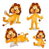 Cartoon lions. Smiling cartoon lion on a white background royalty free illustration