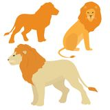 Cartoon lions vector set. Set of standing and sitting lion images stock illustration