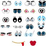 Cartoon lips, eye set Royalty Free Stock Photo