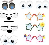 Cartoon lips, eye set Royalty Free Stock Images