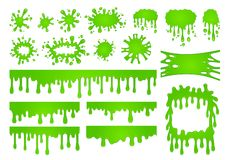 Cartoon liquid slime. Green goo paint drops, spooky splash border and scary halloween stain vector set royalty free illustration