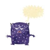 cartoon little alien with speech bubble Royalty Free Stock Image