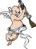 Cartoon of Little angel with shotgun Stock Photo