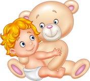 Cartoon little baby with teddy bear Stock Photo