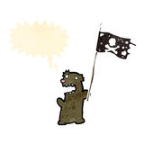 Cartoon little bear waving pirate flag Royalty Free Stock Photos