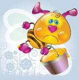 Cartoon little Bee. Tired little bee, who returns from the harvest of honey vector illustration