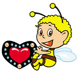Little bee. Cartoon little bee holding heart,picture isolated on white background stock illustration