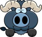 Cartoon Little Blue Ox Peeking Royalty Free Stock Photography